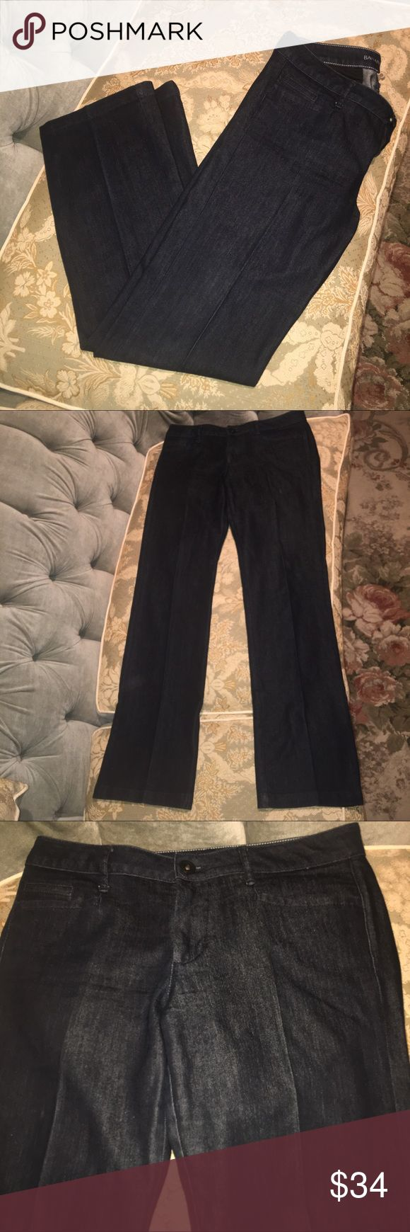 "Banana Republic Wide Leg Lightweight Jeans/SZ 29 Perfect for Fall/Winter dark wash, lightweight, Banana Republic Jeans. Like New Condition. Pleated front accent. Gorgeous fit and slightly stretchy fabric. Very comfortable and stylish. Flattering to any figure. Flat Lay Measurements/Waist 16""-Hips 20""-Rise 8 1/2""-Inseam 32 1/2"". Cross-Posted Banana Republic Jeans Flare & Wide Leg"