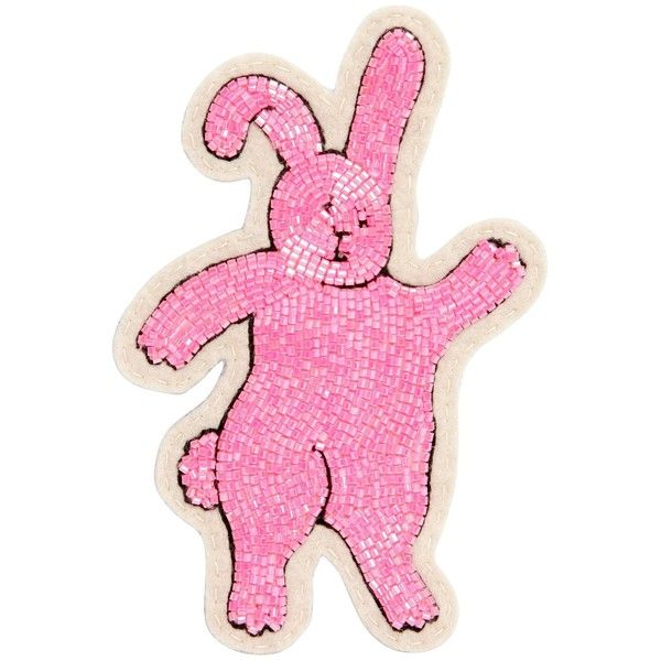 Olympia Le-tan Women Rabbit Beaded Pin (5.900 RUB) found on Polyvore featuring women's fashion, jewelry, brooches, pink, pin brooch, beading jewelry, beaded jewelry, beads jewellery and pink jewelry