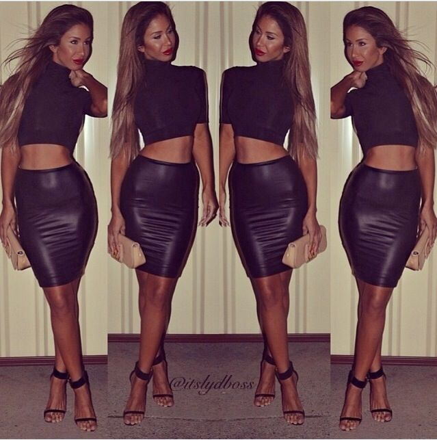 Leather black skirt & short top | Night Outfits | Pinterest ...