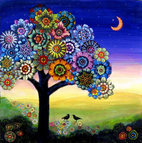 New large size Blooming Tree Two crows birds  flower collage painting  giclee print