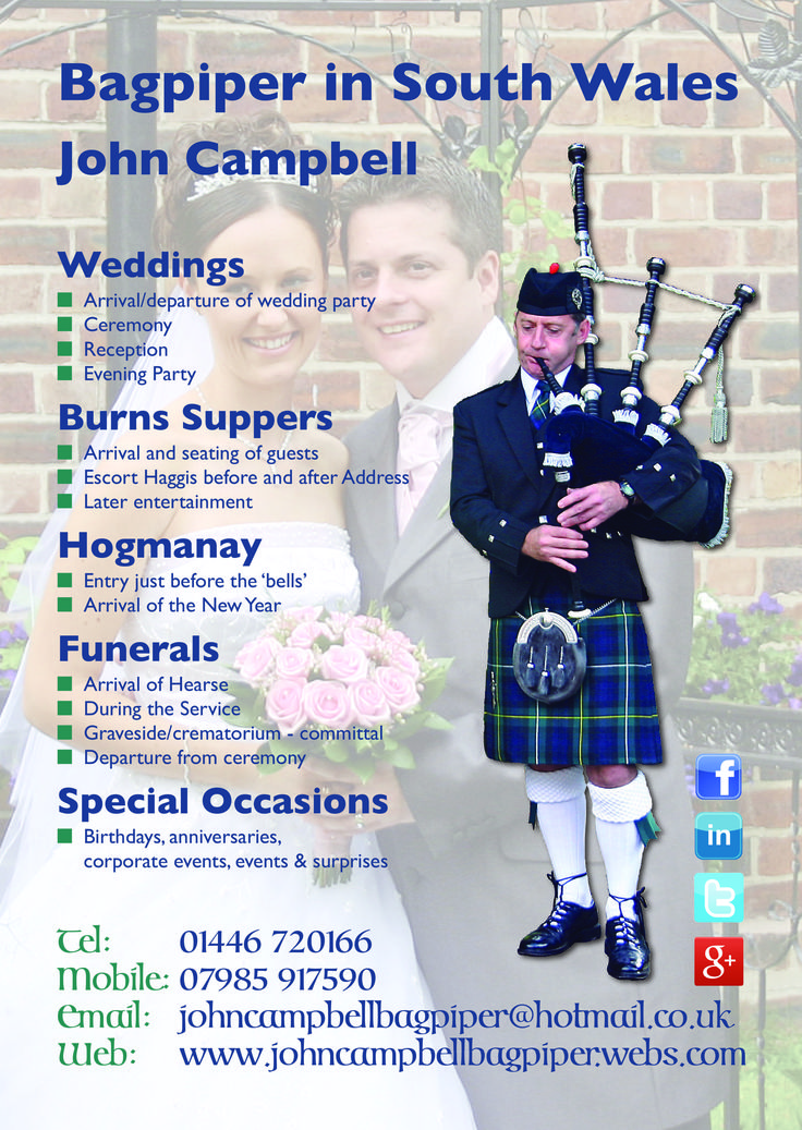 Bagpiper in South Wales & Adjacent Counties - John Campbell, available to play the Bagpipes at your Wedding or other Special Event. Please see my website at www.johncampbellbagpiper.webs.com for Video examples of my Bagpiping at events.  I am also a proud member of My Wonderful Welsh Wedding - Home of the Wedding Guild of Wales :-) #SouthWales #Weddingmusic #Bagpipes #SouthWalesWeddings #Worcs #Gloucs #Bristol #Hereford #Pembrokeshire #Pembs