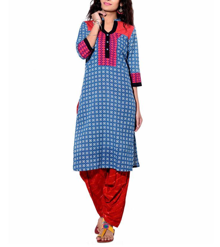 Blue Printed Cotton Kurti #cotton #prints #kurtas #kurtis