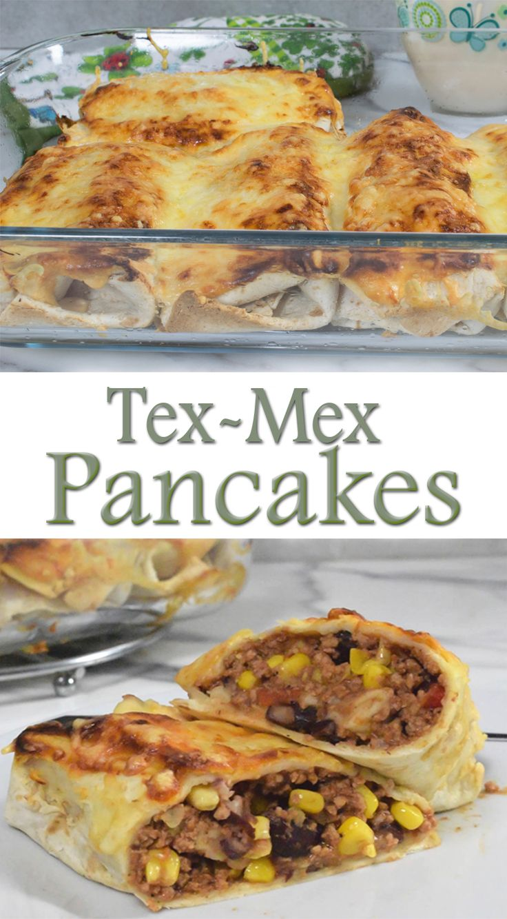 Tex-Mex Pancakes - this is a great dish, quick and simple to make. Flour tortillas filled with meat, corn and bean mixture and grated cheese and topped with delicious greek yogurt sauce that pairs perfectly with Tex-Mex flavors.