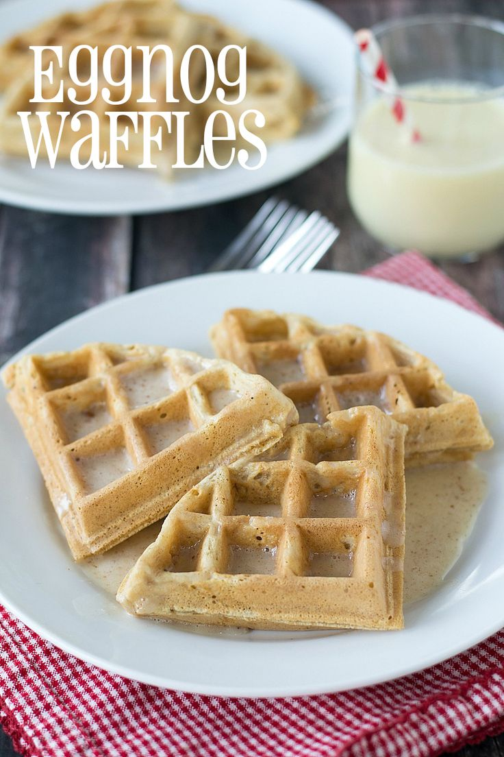 An easy recipe for Eggnog Waffles made with delicious rich and creamy Silk Holiday Nog.