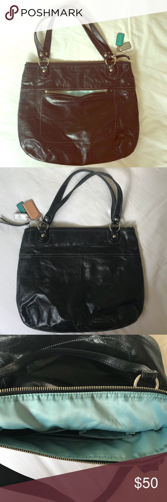 Black Coach Purse Large Black Coach Purse. Purchased a while ago, no longer have original tags. Authentic Coach Purse. Baby Blue silk interior, there is some slight discoloration on the interior around the top zipper portion. Zipper pocket in front of purse. Some faint wear on back of purse (looks like little white wear patch). Coach Bags Shoulder Bags