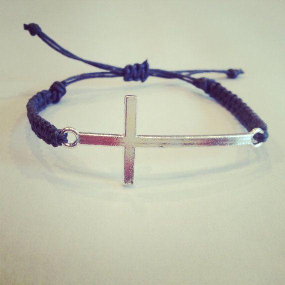 Silver cross bracelet by AroundMyWrist on Etsy, 10.95