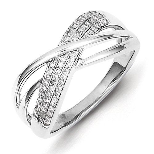 Sterling Silver Diamond Ring Size 7 -