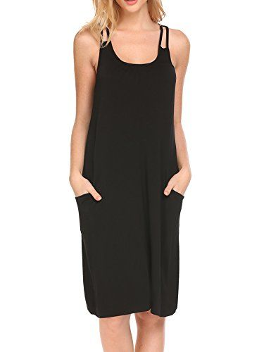 487e6596da1575 Hotouch Sleeveless Nightgown for Women Cami Sleepwear Loose Nightgowns with  Pocket S-XXL