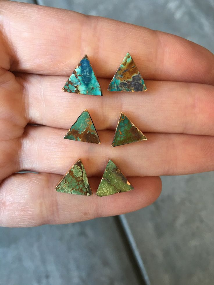 Turquoise triangle studs, boho jewelry by BijouLimon on Etsy https://www.etsy.com/listing/254062651/turquoise-triangle-studs-boho-jewelry