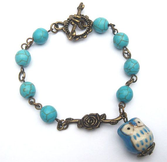 love love love it!!! :): Things Turquoi, Owl Turquoi, Brass Branches, Antiques Brass, Branches Porcelain, Porcelain Owl, Turquoise Bracelets, High Heels Pumps, Turquoi Bracelets