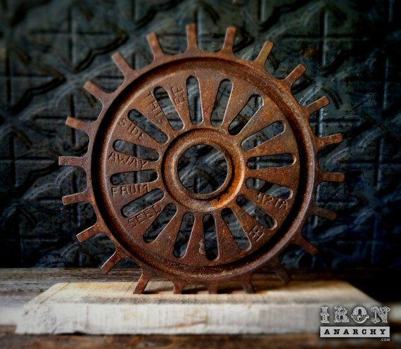 Antique Industrial Cast Iron Gear Sculpture Machine Age
