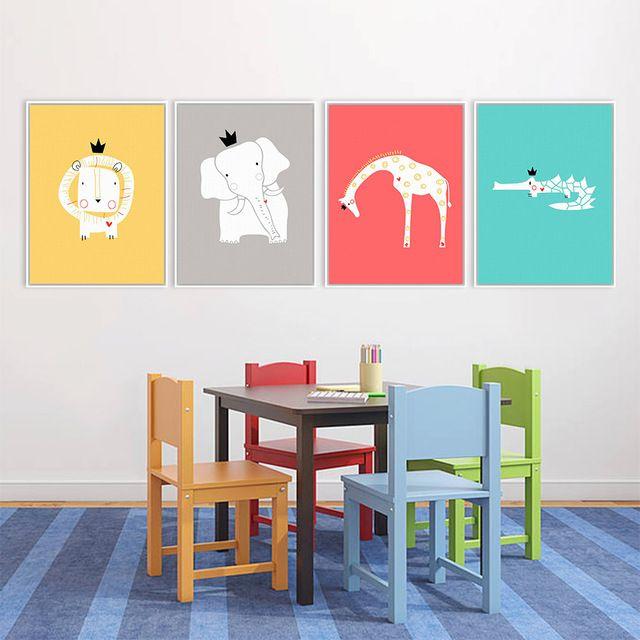 Moderno Nordic Minimalista Fumetto Re Animali Lion Giraffa A4 Stampa Artistica Poster Da Parete Immagine Tela Pittura Camera Dei Bambini Home Decor