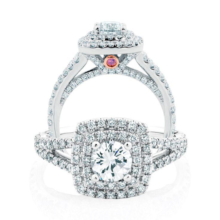 The Michael Hill Designer Bridal Collection round brilliant cut center diamond double halo Arpeggio ring.