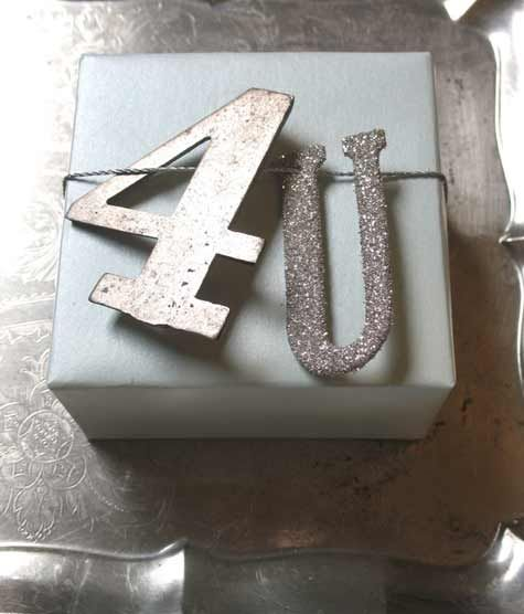i can make letters & #s out of cardboard and then cover them with glitter or metalic paint. like it!