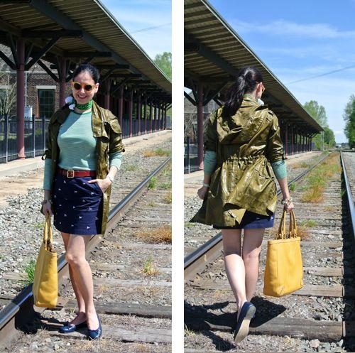 May 1, 2013 http://www.akeytothearmoire.com/post/49356581233/train-station #green #yellow #navy blue #red #olive green #stripes #mini skirt #neckerchief #casual #trench coat #raincoat #yellow sunglasses #charm bracelet #Anne Klein #Ralph Lauren #Anne Klein #Paco Rabanne #Liz Claiborne #Coach #Cole Haan #Brotes #ballerina flats #El Corte Ingles #Hurley #train #Lenora Dame #white