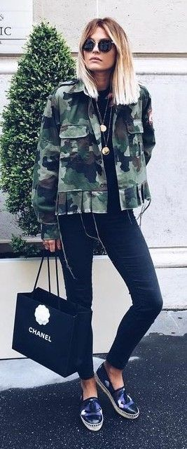 Armt Green Camo Jacket On Black Outfit Idea | Caroline Receveur