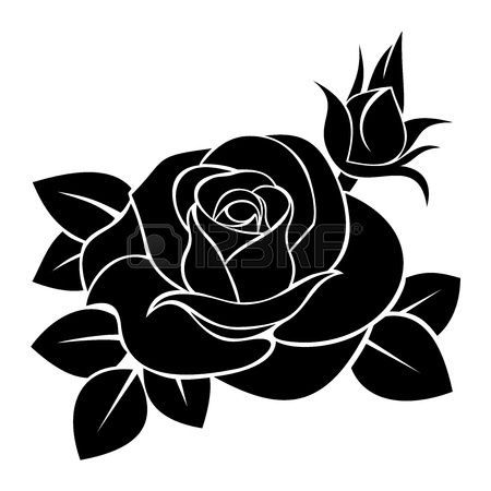 Black silhouette of rose.  illustration. Stock Vector - 18298600