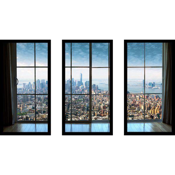 New York City Window 3 Piece Framed Photographic Print Set Wall Art Sets Print Sets Buy Canvas Art