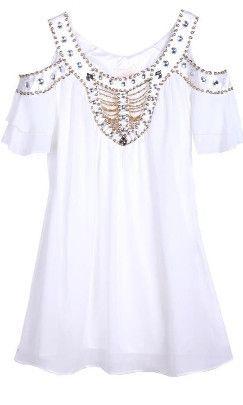 Off shoulder brilleret kjole
