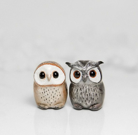 Owl Figurine OOAK Handmade Polymer Clay Animal Totem by Ramalama Creatures