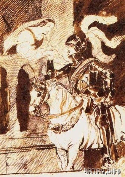 Отъезжающий рыцарь. 1836. 25 х 18.