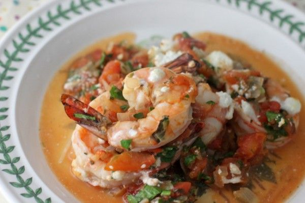 Baked shrimp with tomatoes and feta | Foood | Pinterest