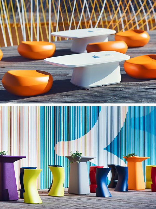 Discover the Moma collection designed by designer Javier Mariscal for the trendy furniture brand Vondom. #rainbow #colors #stoolbar #seat #table #equipment #furniture #vondom #barazzi www.barazzi.com