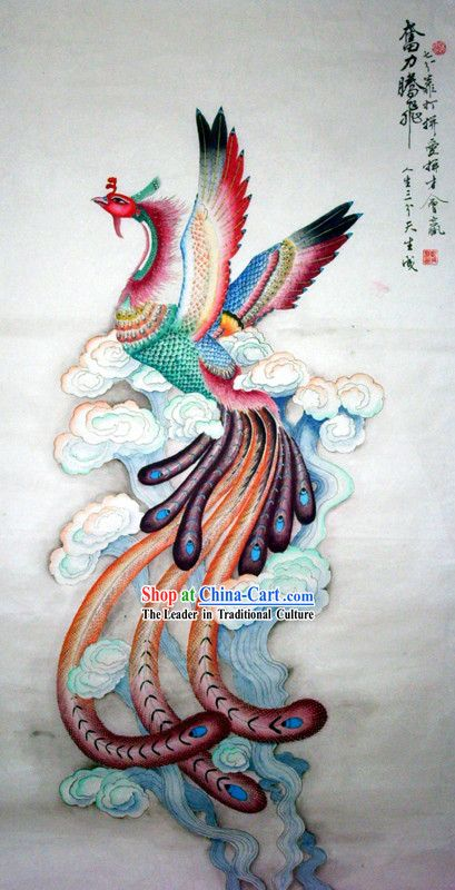 Chinese traditional painting with meticulous detail rising for Tattoo supply phoenix