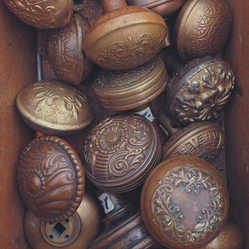 Old doorknobs look wonderful when they're grouped together like this. Design*Sponge handware