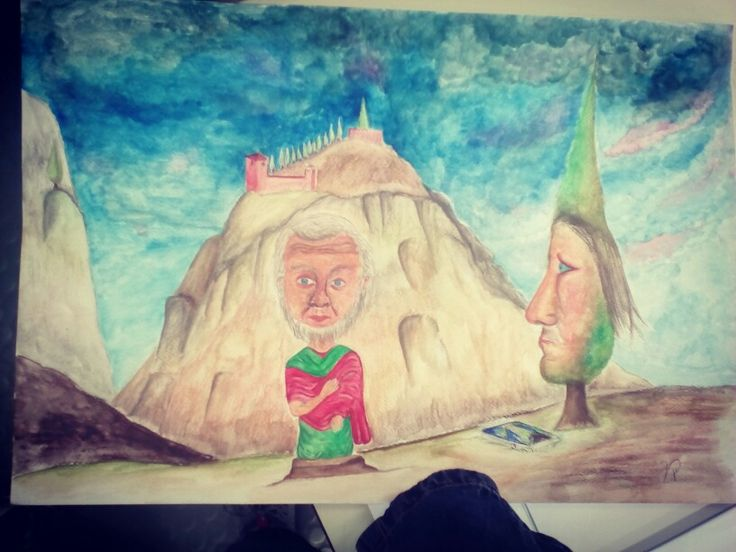 Rielaborazione di icona a encausto del VI° secolo Gesù incontra l'abate Mena. #draw#drawing#painting#acquerelo#sfondo#roccia#cipressi#gesù#art#artist#school#instagood#instaart#instamood#instaartist#workinprogress#instagram#instacool#instaphoto#follow#followme