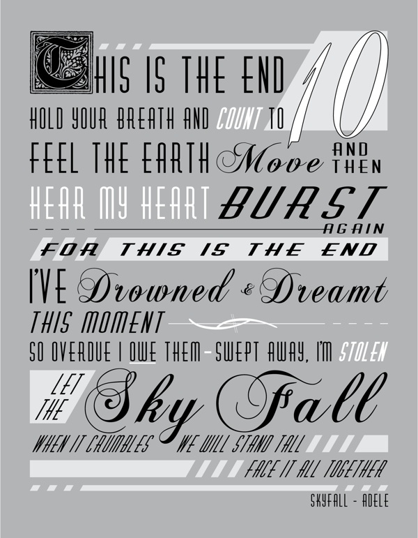 ADELE SKYFALL Lyric Posters on Behance