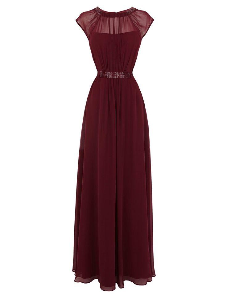 Tidetell Hot Sheer Bridesmaid Long Chiffon Cap Sleeves Prom Evening Dress Burgundy Size 10