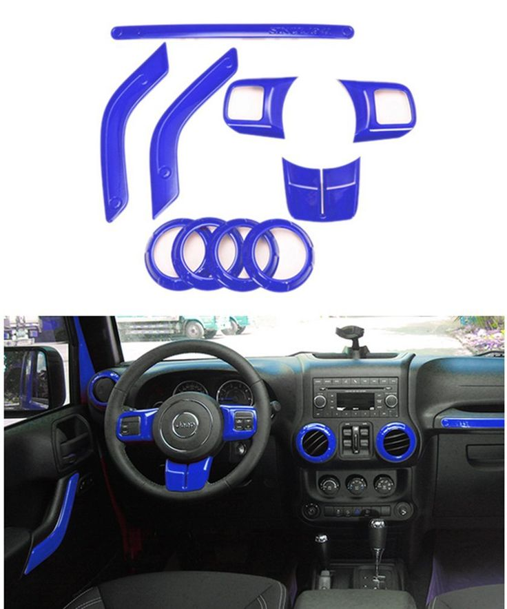 Amazon.com: E-cowlboy Full Set Interior Decoration Trim Kit--Steering Wheel Trim, Center Console Air Outlet Trim, Door Handle Cover Inner, Passenger Seat Handle Trim For Jeep Wrangler 2011-2016 2-door (Blue): Automotive