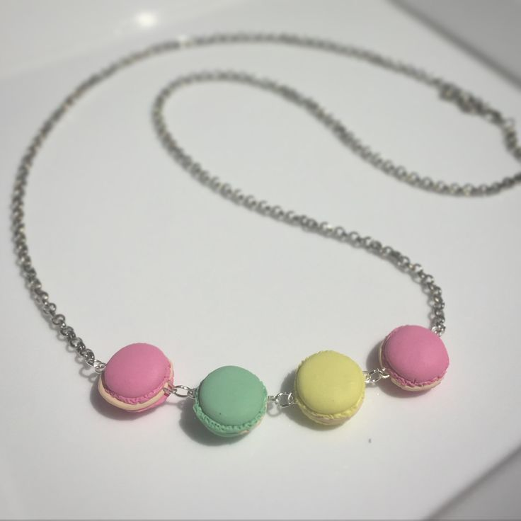Pretty Macaron Miniature Polymer clay necklace girls gift by FraaiStudio on Etsy