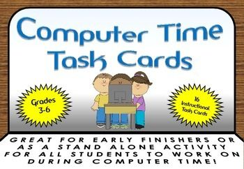 Fun while Learning, Educational and Challenging!!! A fantastic resource to use when students finish their work before their peers, or used as stand alone computer time lessons. 14 step by step task cards in download.