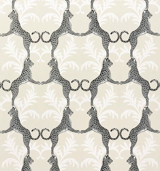 Cheetah Wallpaper Cream wallpaper with White floral motif entwined with fun metallic silver and black cheetah design.