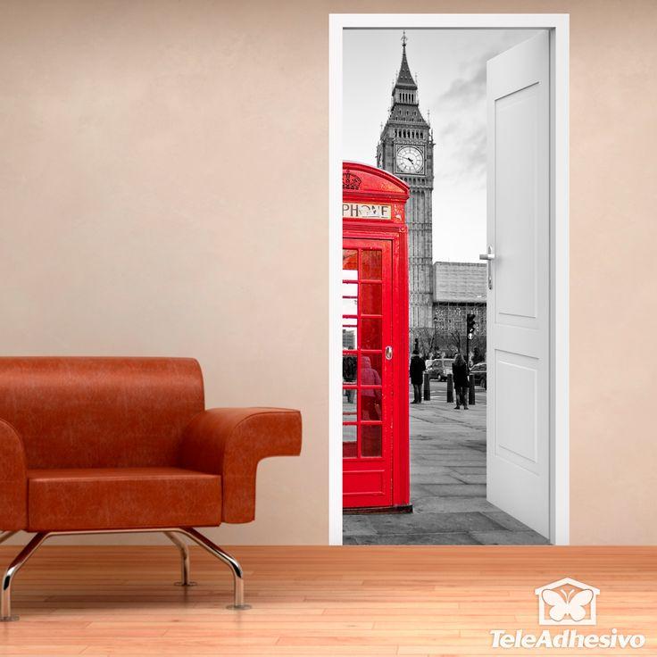 Vinilo decoratio puerta abierta a de cabina Londres