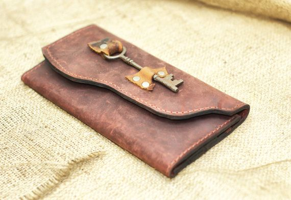 Ladies Leather Wallet - Boho Chic Extra Large Distressed Leather Checkbook Wallet with Skeleton Key Steampunk | https://www.etsy.com/listing/192115371/ladies-leather-wallet-boho-chic-extra?ref=shop_home_active_14