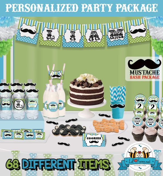 Little Man Mustache Bash Birthday Party by LilFacesPrintables, $33.99