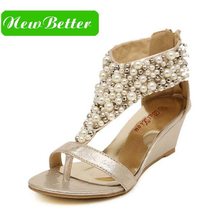 Pas cher Strass glissière perles perlées hauts talons or noir coins sandales femmes chaussures d'été 2015, Acheter  Sandales pour femmes de qualité directement des fournisseurs de Chine:    Tous les suivre chaussures sont 45% de réduction!                                                            C