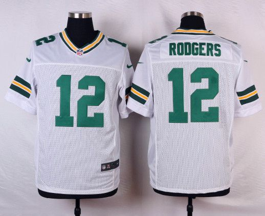 NFL Elite Jersey. Green Bay Packers 12 Aaron Rodgers white Mens Elite ... 3497cdcb5