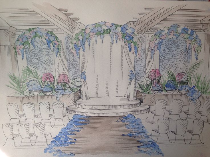 Sketch for blue wedding alter
