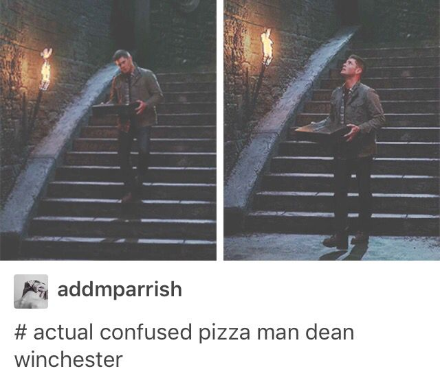 11x10 The Devil In The Details - actual confused pizza man Dean Winchester - Lol ;) :: wonder what Cas learned from THIS pizza man...