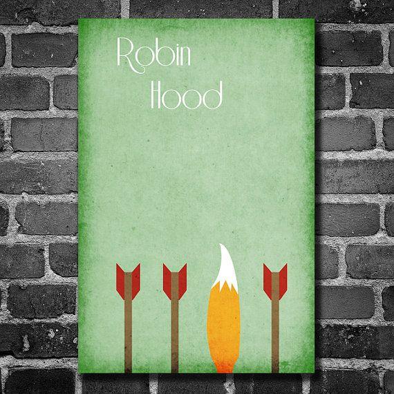 Robin Hood movie poster Disney minimalist poster geekery art nursery print