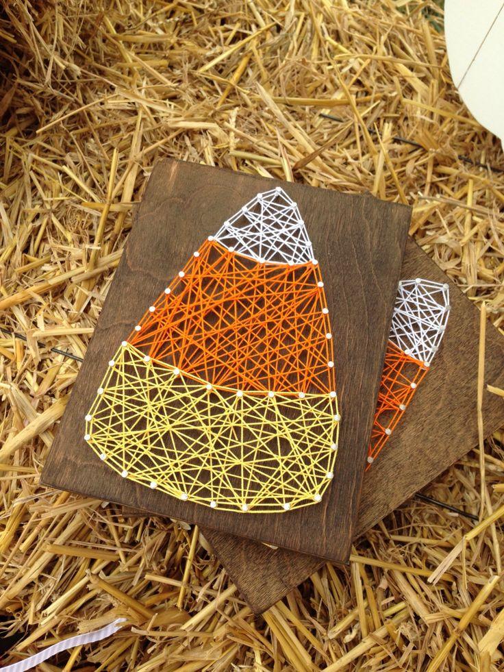 Candy corn string art, fall decor, candy corn decor, thanksgiving decor, - pinned by pin4etsy.com