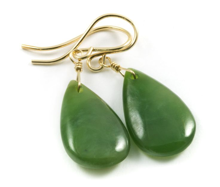 14k Gold Filled Green Nephrite Jade Earrings Natural Teardrop Smooth AAA Natural: