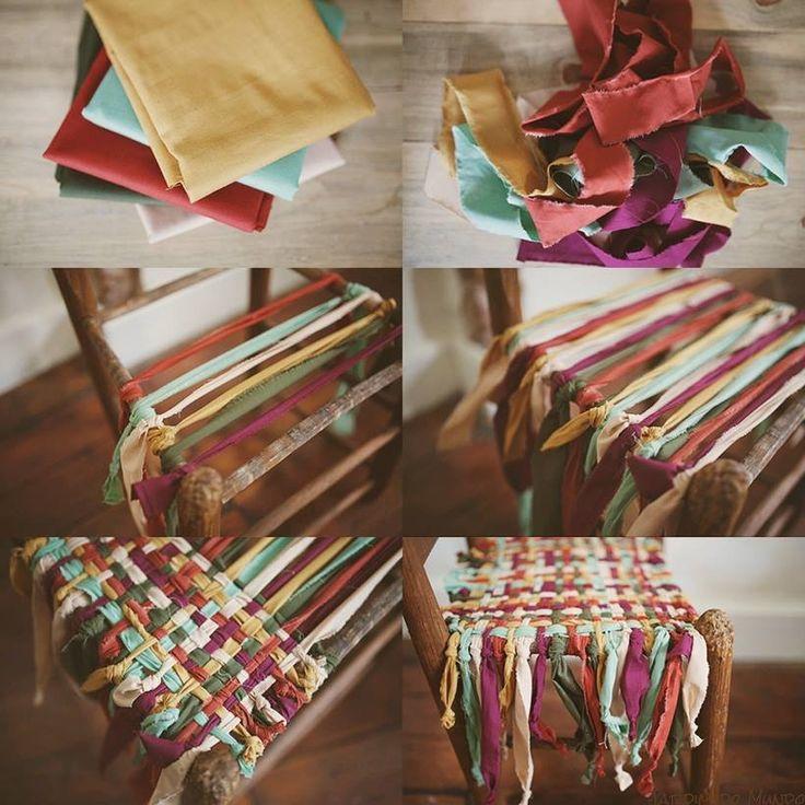 Dit kan met nieuwe stof, maar ook reepjes knippen van oude t-shirts en op deze manier #weven is een mogelijkheid
