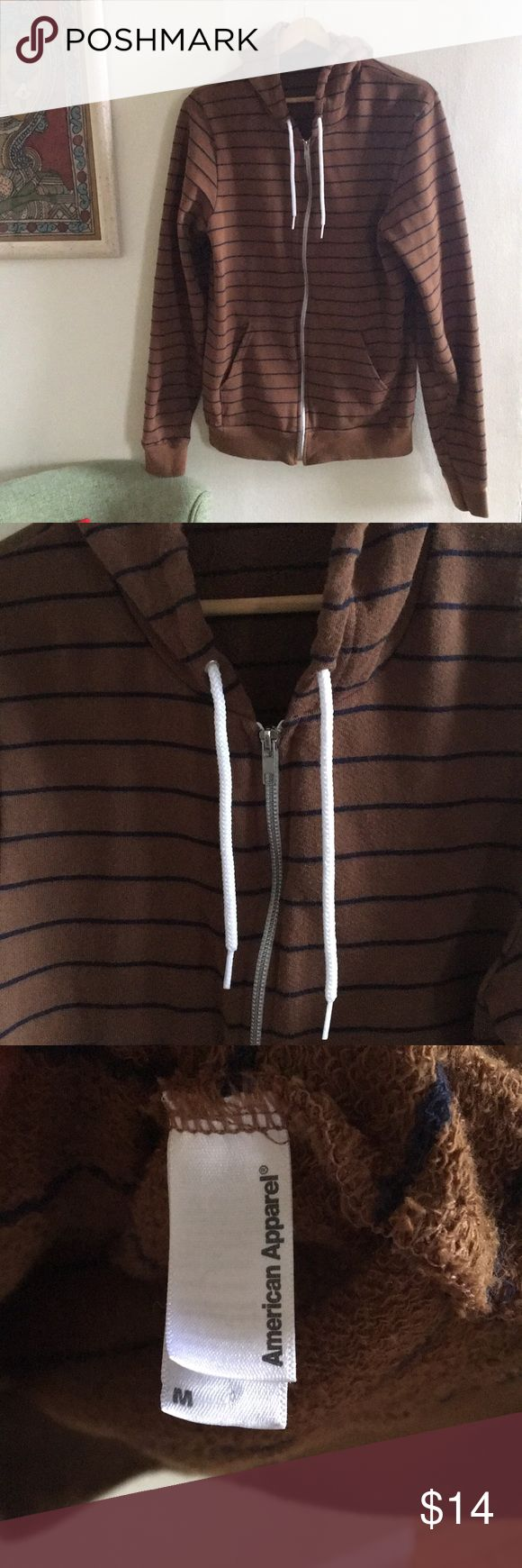 American apparel striped zip up - unisex M I think technically it's a men's M, but I'm a size small and wore it oversized. It's quite narrow. Brown and navy blue stripe. Inside has a terry feel. Great condition! American Apparel Shirts Sweatshirts & Hoodies