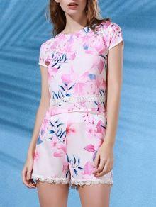 Floral Print Crop Top + Lace Trim Shorts Twinset