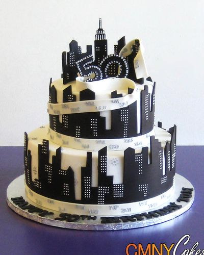 50th birthday black and white nyc themed cake cmny cakes. Black Bedroom Furniture Sets. Home Design Ideas